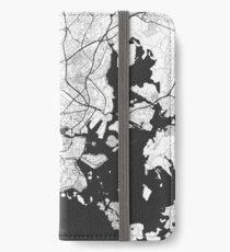 Helsinki Karte Grau iPhone Flip-Case/Hülle/Klebefolie