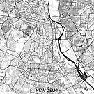 Neu-Delhi Karte grau von HubertRoguski