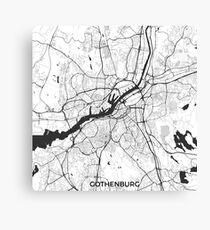 Gothenburg Map Gray Canvas Print