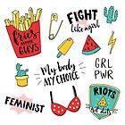 «Conjunto de pegatinas de feminismo» de Anna Kutukova