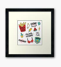 Feminism stickers set Framed Print