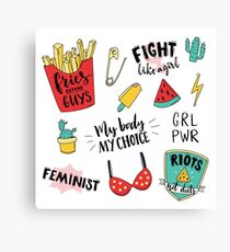 Feminism stickers set Canvas Print
