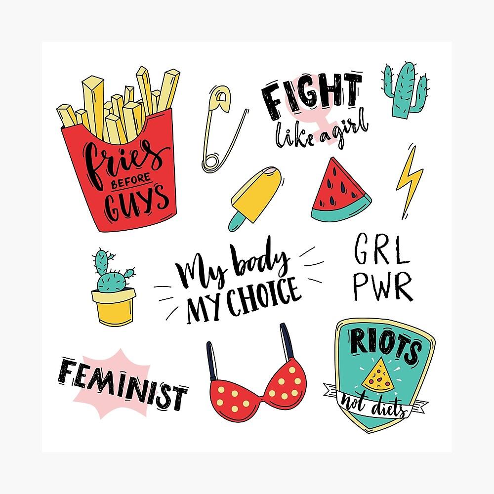 Conjunto de pegatinas de feminismo Lámina fotográfica