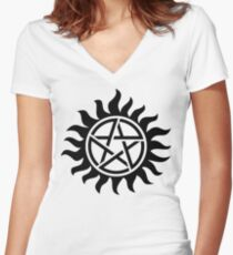 Supernatural Tattoo (black) Women's Fitted V-Neck T-Shirt