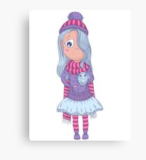 Cute anime girl in tutu and winter clothes with owl. Canvas Print