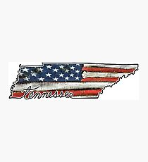 Tennessee State Outline with USA Flag Photographic Print