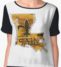 Louisiana State Outline with Saints Chiffon Top