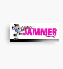 Caution! Jammer Driving! Car bumper sticker. Canvas Print