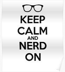 Keep Calm Nerd On Black Poster