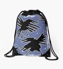 crow flight Drawstring Bag