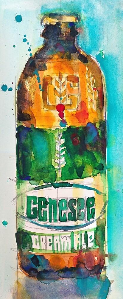 Genesee Cream Ale Beer Art Print - Original Watercolor  by Dorrie  Rifkin