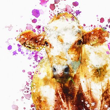 Watercolor Cow Design, Love Cows, Cow Art by joannejgg