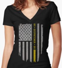 911 Dispatcher Thin Gold Line Women's Fitted V-Neck T-Shirt