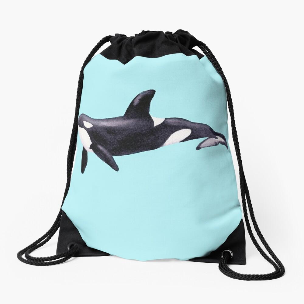 Underwater Orca  Drawstring Bag