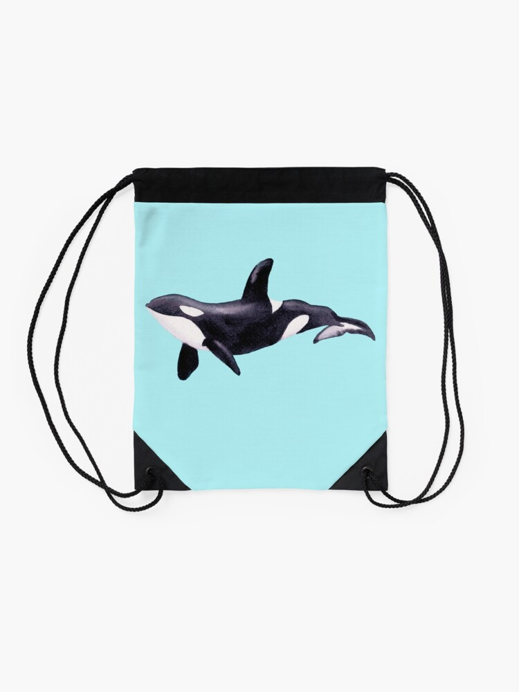 Alternate view of Underwater Orca  Drawstring Bag