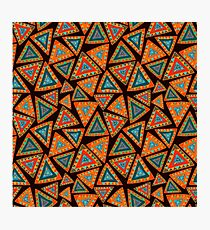 Seamless pattern with hand drawn triangles, colorful, in ethnic style Photographic Print