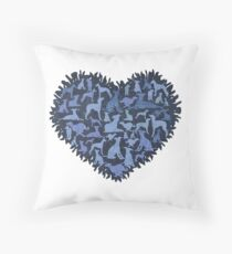 Denim Whippets Throw Pillow