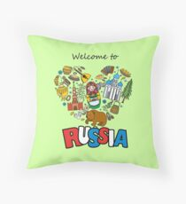 Welcome to Russia. Russian symbols, travel Russia Throw Pillow