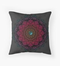 Colourful Mandala with Turquoise Stone Throw Pillow