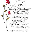 Love in the same direction handwritten quote by Melissa Goza