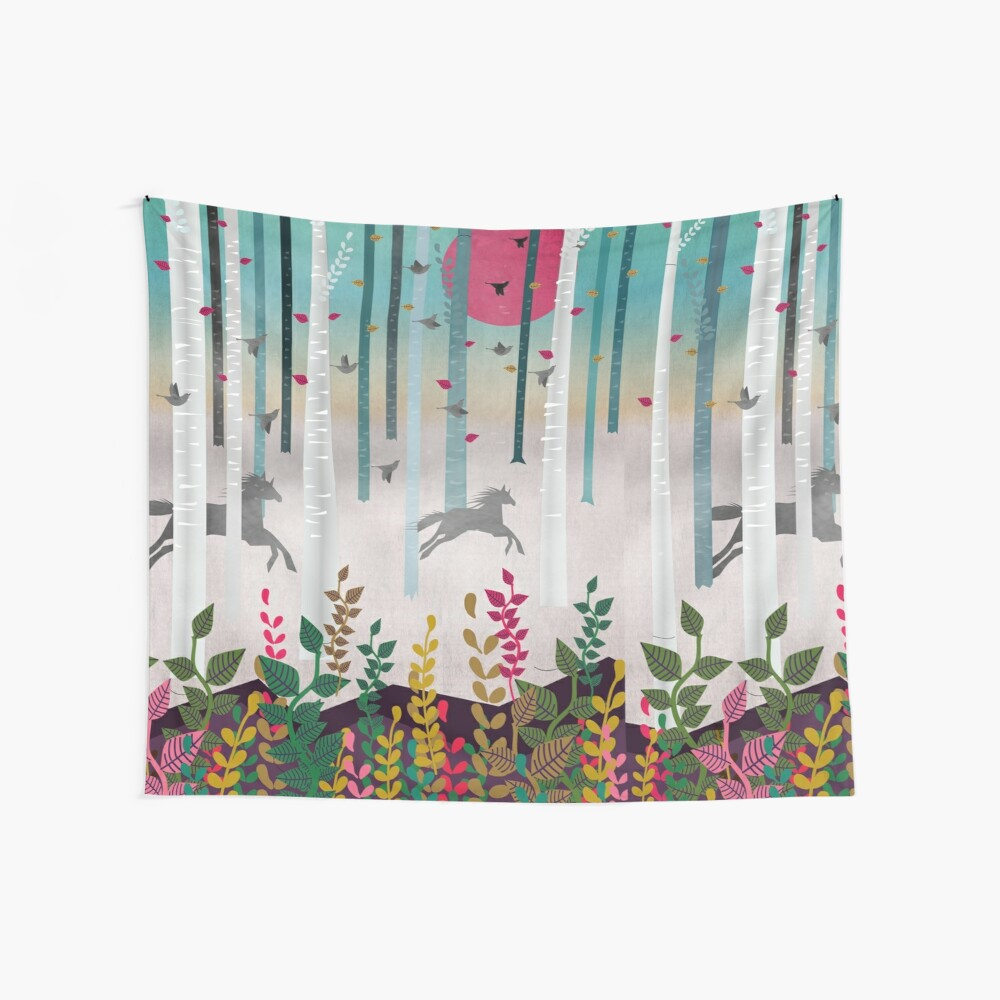 Flying Horses Wall Tapestry