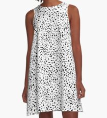Seamless pattern with hand drawn ink dots A-Line Dress