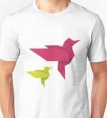 Origami Hummingbird - crimson + lime T-Shirt