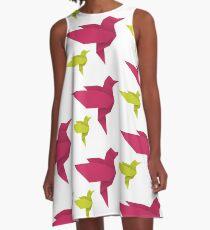 Origami Hummingbird - crimson + lime A-Line Dress