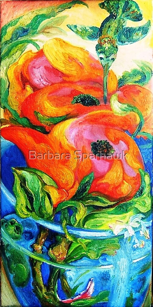 Hummingbird, Frog, Roses, Blue Glass by Barbara Sparhawk