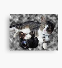 """(CAT) """"SAY CHEESE"""" (MOUSE)""""DID SOMEONE SAY CHEESE?"""" CAT & MOUSE PHOTOGRAPHER - PICTURE & CARD Canvas Print"""