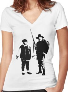 Ricky Baker and Uncle Hec, Hunt for the Wilderpeople Women's Fitted V-Neck T-Shirt