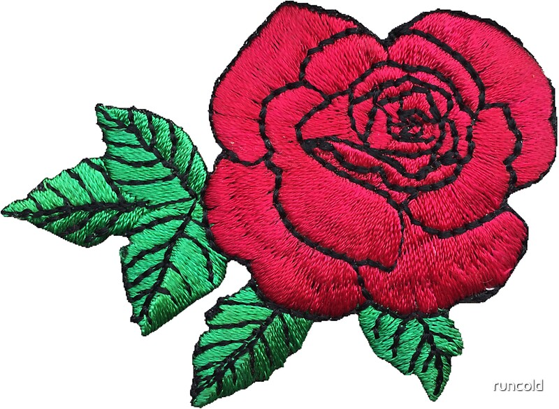 Quot embroidered rose stickers by runcold redbubble