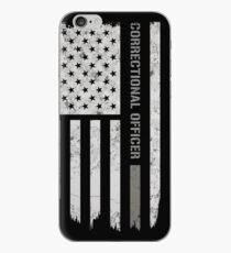 Thin Silver Line Correctional Officer T-Shirt iPhone Case