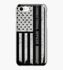 Thin Silver Line Correctional Officer T-Shirt iPhone Case/Skin