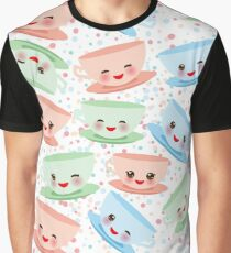 Happy Cups on Polkadot Graphic T-Shirt