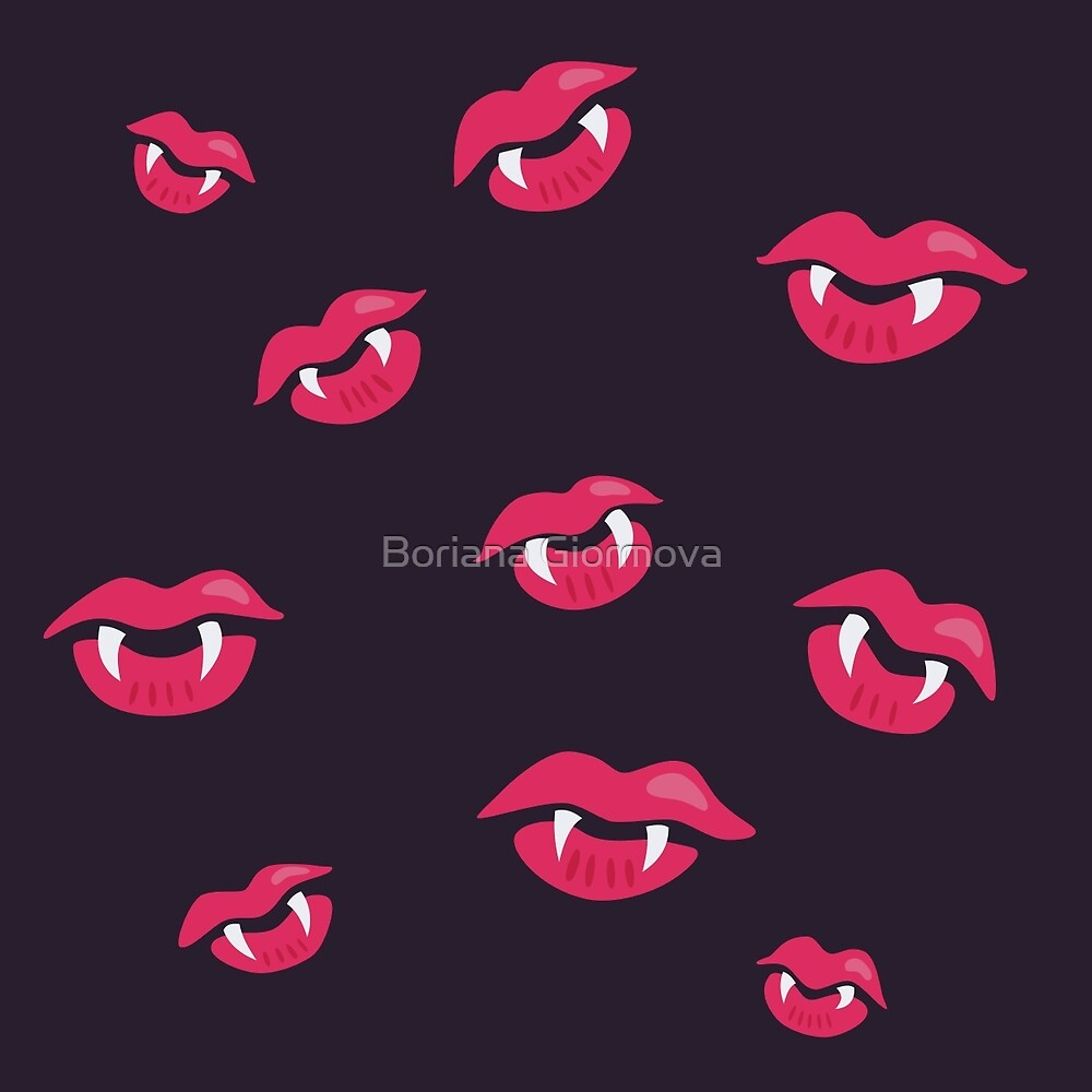 Pattern of pink vampire mouths and fangs over dark purple background.