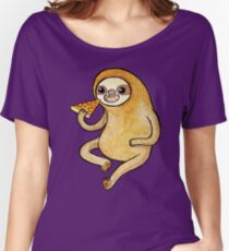Sloth Eating Pizza Women's Relaxed Fit T-Shirt