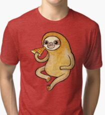 Sloth Eating Pizza Tri-blend T-Shirt