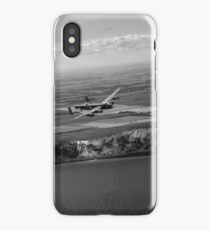 Lancaster over the white cliffs in Kent black and white version iPhone Case