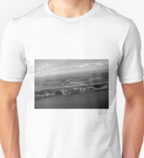 Lancaster over the white cliffs in Kent black and white version Unisex T-Shirt