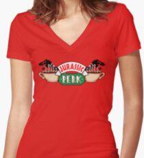Jurassic Park x Central Perk - Jurassic World/FRIENDS parody Women's Fitted V-Neck T-Shirt