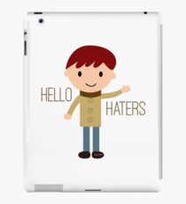Cool Funny Vintage Cartoon Hipster Design - Hello Haters iPad Case/Skin