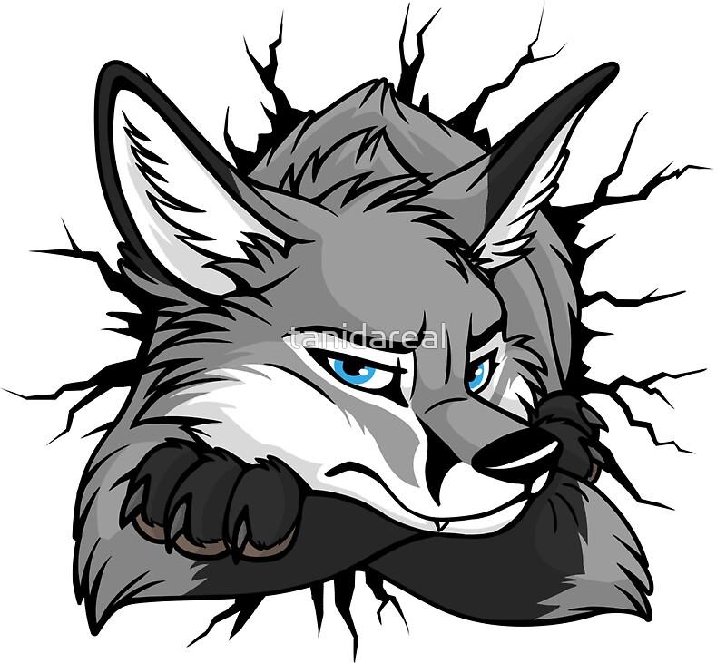 Sticker stuck grey fox by tanidareal