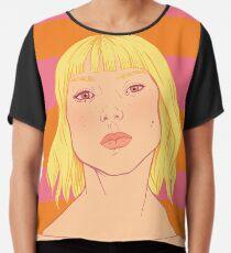 Fashion; Blonde Girl & Stripes Chiffon Top