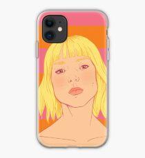 Fashion; Blonde Girl & Stripes iPhone Case