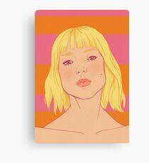 Fashion; Blonde Girl & Stripes Canvas Print
