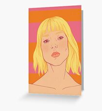 Fashion; Blonde Girl & Stripes Greeting Card