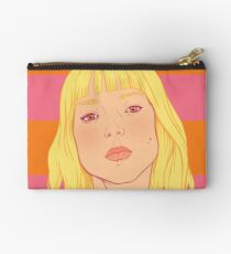 Fashion; Blonde Girl & Stripes Studio Pouch