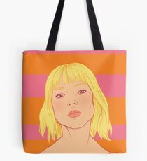 Fashion; Blonde Girl & Stripes Tote Bag