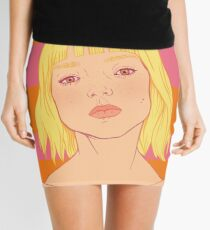 Fashion; Blonde Girl & Stripes Mini Skirt